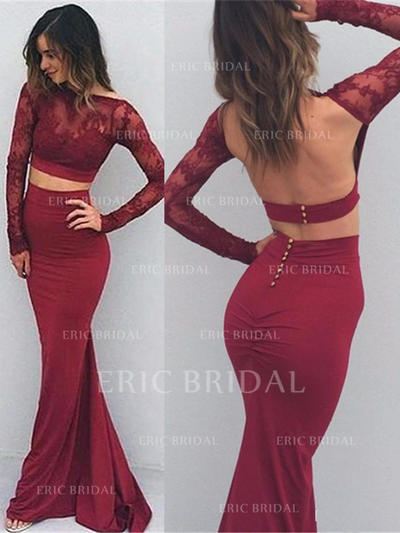 Trumpet/Mermaid Jersey Prom Dresses Appliques Lace Long Sleeves Floor-Length (018210239)