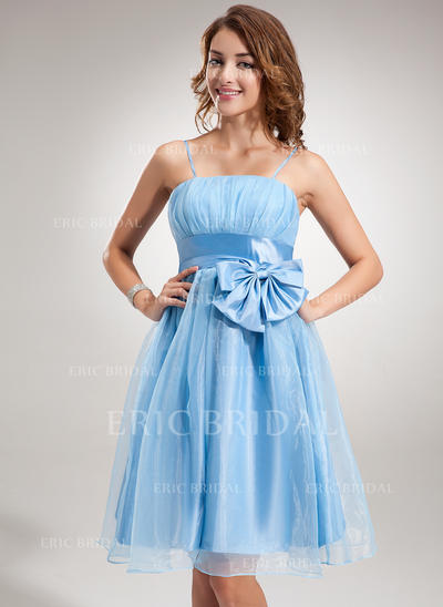 Empire Knee-Length Organza Homecoming Dresses With Ruffle Bow(s) (022212815)