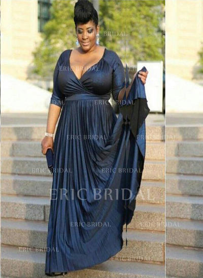 A-Line/Princess V-neck Court Train Charmeuse Mother of the Bride Dresses With Ruffle (008212792)