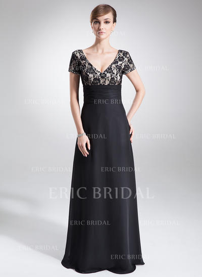 A-Line/Princess Chiffon Lace Short Sleeves V-neck Floor-Length Zipper Up Mother of the Bride Dresses (008005673)