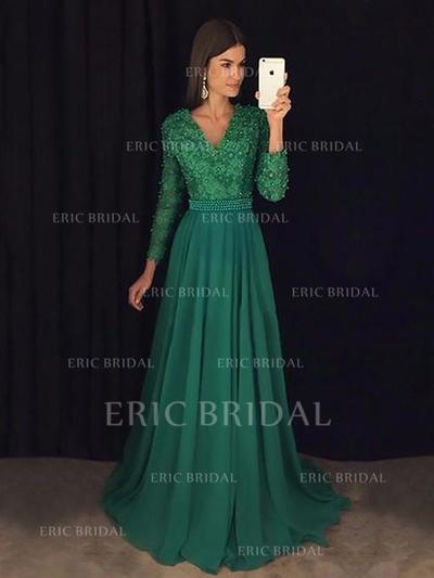 A-Line/Princess Chiffon Prom Dresses Lace Beading Sequins V-neck Long Sleeves Sweep Train (018148442)
