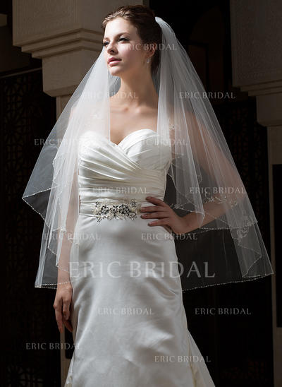 Fingertip Bridal Veils Tulle Two-tier Classic With Beaded Edge Wedding Veils (006151162)