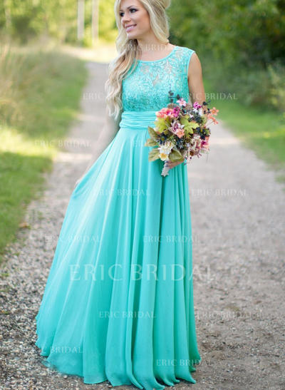 A-Line/Princess Chiffon Bridesmaid Dresses Ruffle Scoop Neck Sleeveless Floor-Length (007211582)