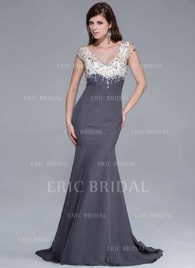 Trumpet/Mermaid V-neck Sweep Train Prom Dresses With Beading Split Front (018025646)