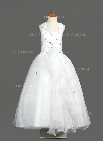 A-Line/Princess Scoop Neck Floor-length With Beading Organza Flower Girl Dresses (010005894)