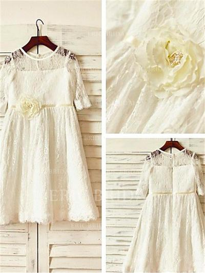 A-Line/Princess Scoop Neck Tea-length With Flower(s) Lace Flower Girl Dresses (010212020)