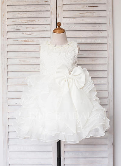 A-Line/Princess Scoop Neck Knee-length With Ruffles/Lace/Beading Satin/Tulle Flower Girl Dresses (010211601)