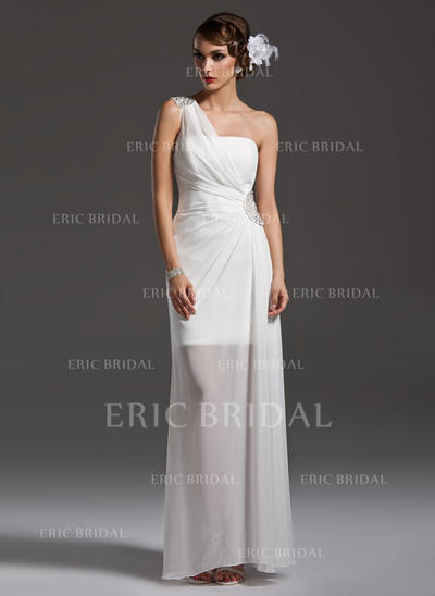 Sheath/Column Floor-Length Prom Dresses One-Shoulder Chiffon Sleeveless (018004790)