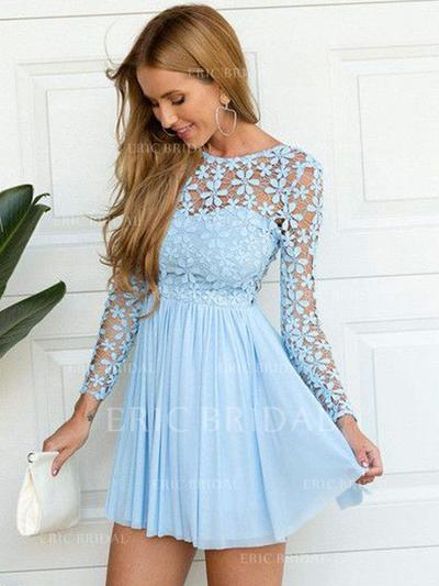 A-Line/Princess Scoop Neck Short/Mini Chiffon Homecoming Dresses With Lace (022212379)