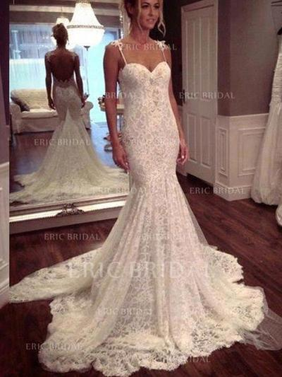 Trumpet/Mermaid Sweetheart Court Train Wedding Dresses With Lace (002210848)
