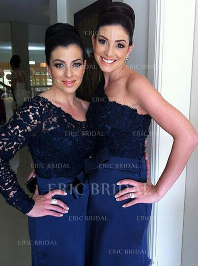 Trumpet/Mermaid Satin Lace Bridesmaid Dresses Bow(s) One-Shoulder Long Sleeves Sweep Train (007145131)
