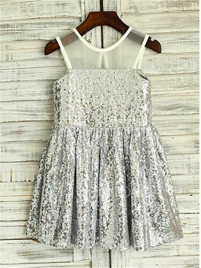 A-Line/Princess Scoop Neck Knee-length With Pleated Sequined Flower Girl Dresses (010211959)