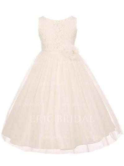 A-Line/Princess Scoop Neck Ankle-length With Sash Tulle/Lace Flower Girl Dresses (010211870)