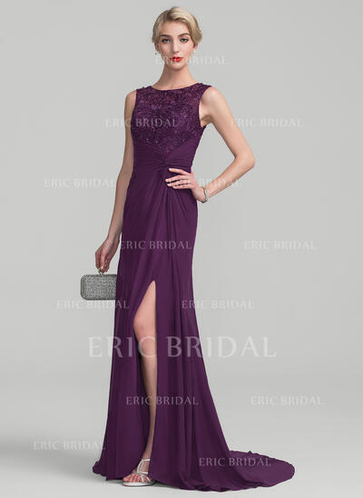 A-Line/Princess Scoop Neck Sweep Train Chiffon Lace Evening Dress With Ruffle Beading Sequins Split Front (017130703)
