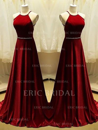 A-Line/Princess Scoop Neck Sweep Train Prom Dresses With Beading (018210993)