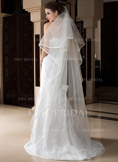 Chapel Bridal Veils Tulle One-tier Drop Veil With Ribbon Edge Wedding Veils (006151530)