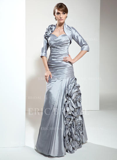 A-Line/Princess Sweetheart Floor-Length Mother of the Bride Dresses With Ruffle Flower(s) (008211231)