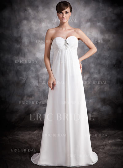 Empire Sweetheart Sweep Train Evening Dresses With Ruffle Beading (017016876)