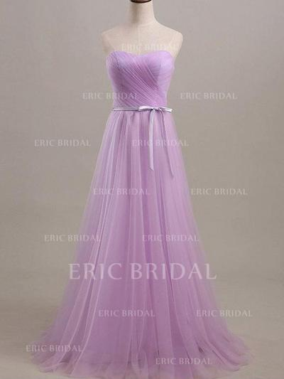 A-Line/Princess Sweetheart Floor-Length Bridesmaid Dresses With Ruffle Sash (007212140)