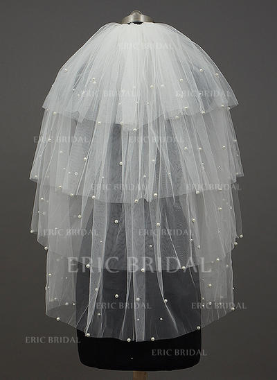 Elbow Bridal Veils Four-tier Classic With Cut Edge With Beading/Faux Pearl Wedding Veils (006151193)