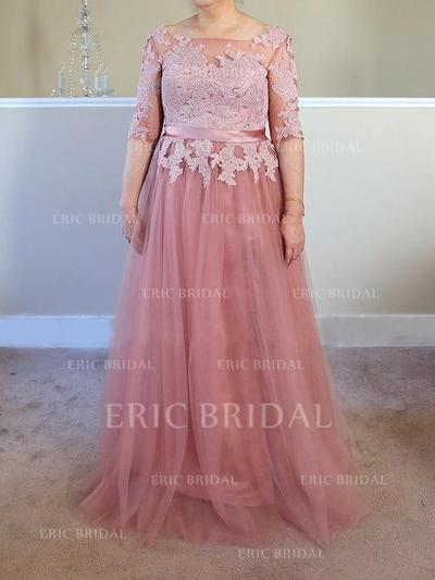 A-Line/Princess Tulle 1/2 Sleeves Square Neckline Sweep Train Lace Up Mother of the Bride Dresses (008212744)