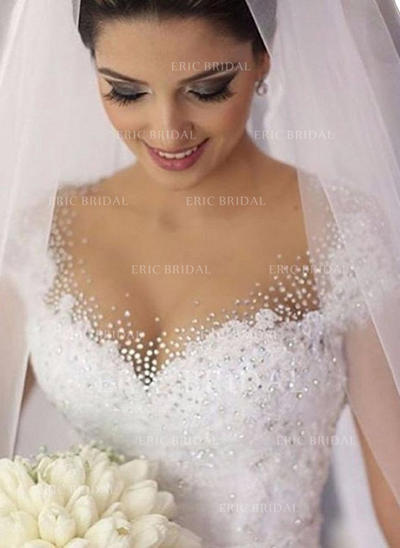 Ball-Gown V-neck Court Train Wedding Dresses With Lace Beading Sequins (002148056)