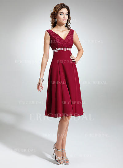 Empire Chiffon Lace Sleeveless V-neck Knee-Length Zipper Up Mother of the Bride Dresses (008211021)