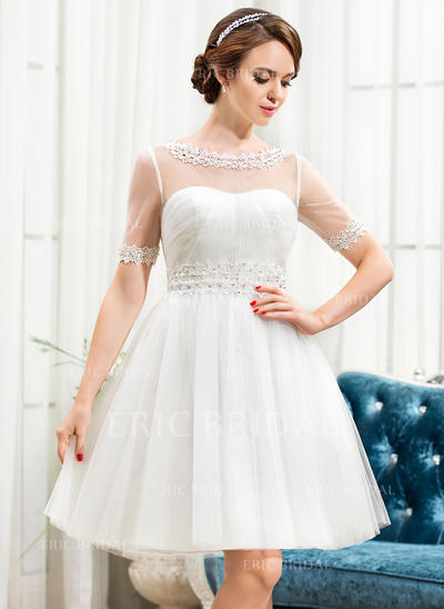 Newest Scoop A-Line/Princess Wedding Dresses Knee-Length Tulle Short Sleeves (002210575)