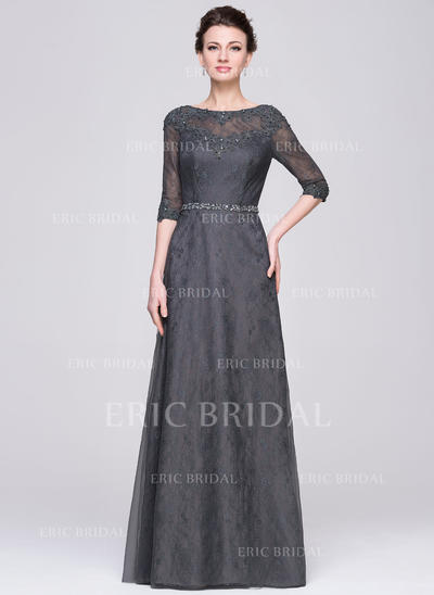 A-Line/Princess Tulle Lace 1/2 Sleeves Scoop Neck Floor-Length Zipper Up Mother of the Bride Dresses (008211522)