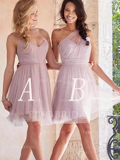 A-Line/Princess Sweetheart Short/Mini Bridesmaid Dresses With Ruffle (007211686)