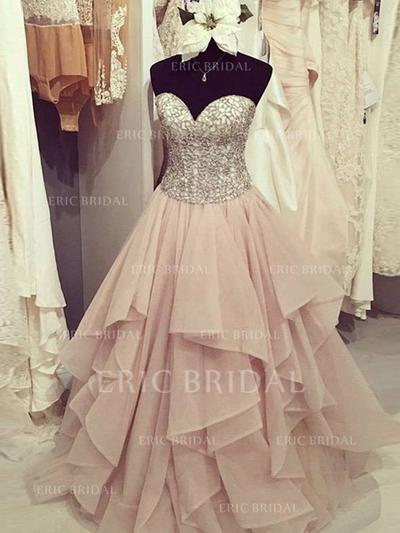 Ball-Gown Sweetheart Floor-Length Prom Dresses With Ruffle Beading Appliques (018148421)