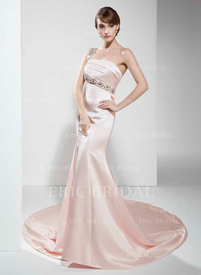 Trumpet/Mermaid One-Shoulder Chapel Train Evening Dresses With Beading (017022530)