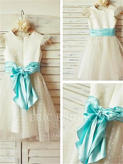 A-Line/Princess Scoop Neck Knee-length With Sash Satin/Tulle Flower Girl Dresses (010211914)