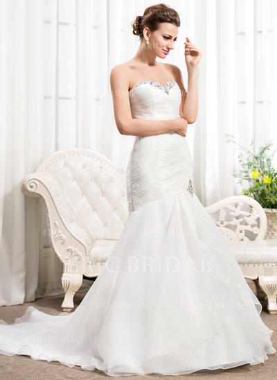 Trumpet/Mermaid Sweetheart Court Train Wedding Dresses With Ruffle Beading Sequins (002210580)