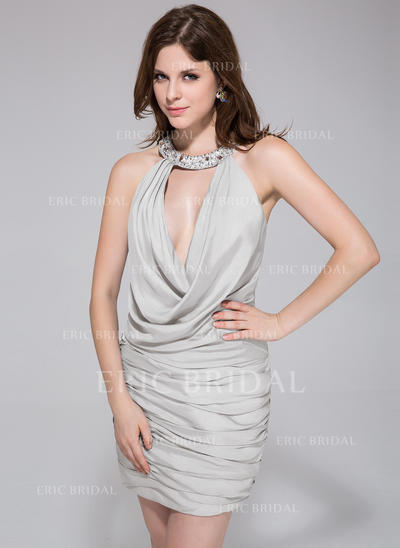 Sheath/Column Halter Short/Mini Jersey Cocktail Dresses With Ruffle Beading (016010873)