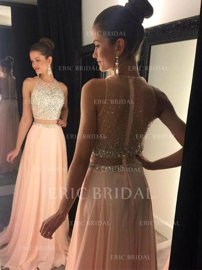A-Line/Princess Sweep Train Prom Dresses Scoop Neck Chiffon Sleeveless (018145400)