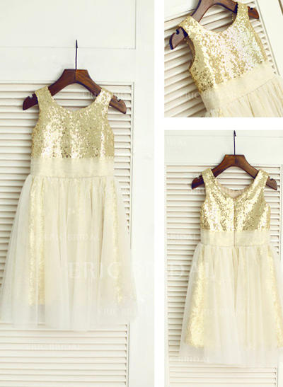 A-Line/Princess Scoop Neck Knee-length With Sequins Tulle/Sequined Flower Girl Dresses (010212012)