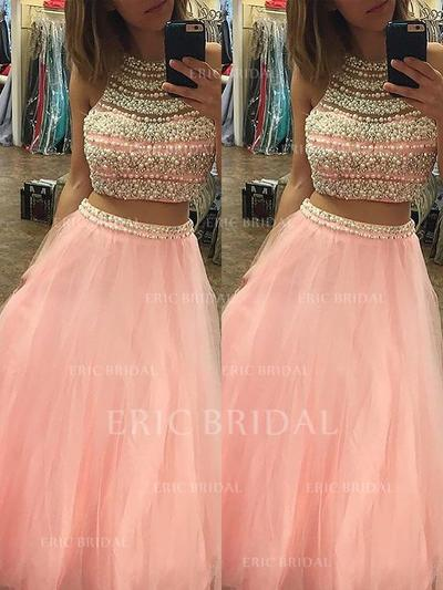 A-Line/Princess Tulle Prom Dresses Beading Halter Sleeveless Floor-Length (018210231)