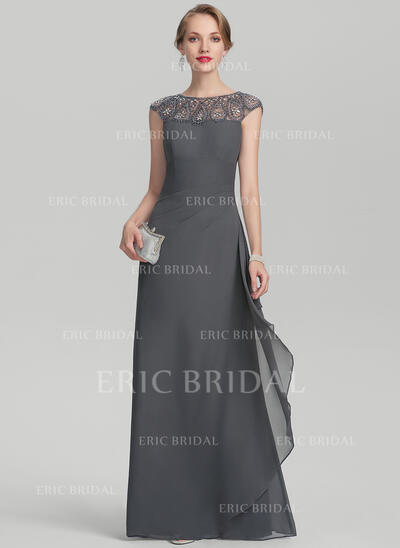 A-Line/Princess Scoop Neck Floor-Length Chiffon Evening Dress With Beading Sequins Cascading Ruffles (017144969)