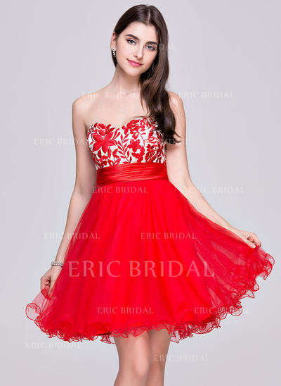 A-Line/Princess Sweetheart Short/Mini Homecoming Dresses With Ruffle (022068113)