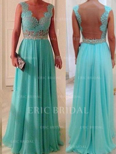 A-Line/Princess Chiffon Lace Bridesmaid Dresses Beading Scoop Neck Sleeveless Floor-Length (007145006)