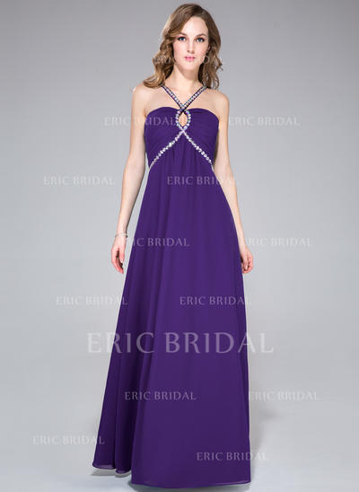 Empire Chiffon Prom Dresses Ruffle Beading V-neck Sleeveless Floor-Length (018047513)