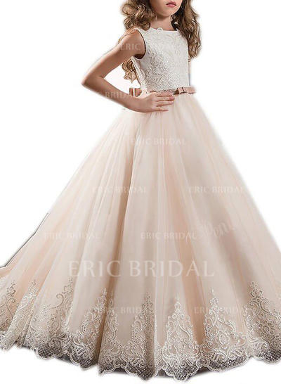 Ball Gown Sweep Train With Sash/Appliques/Bow(s) Tulle Sleeveless Flower Girl Dresses (010211733)