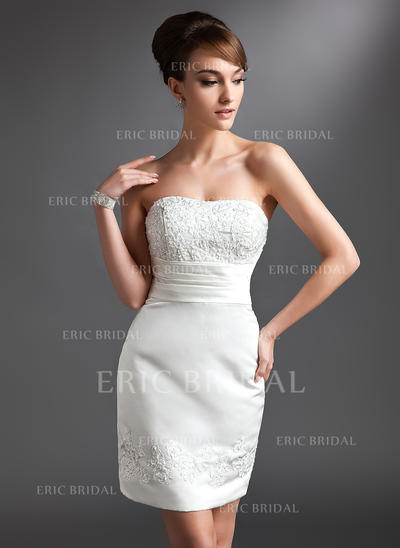 Sheath/Column Sweetheart Short/Mini Mother of the Bride Dresses With Lace Beading (008211420)