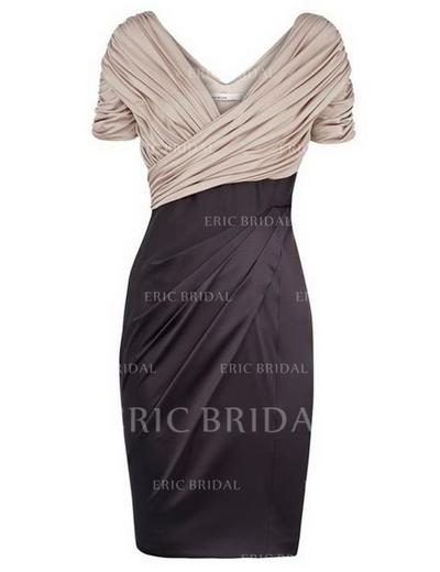 Sheath/Column V-neck Knee-Length Mother of the Bride Dresses With Ruffle (008146367)