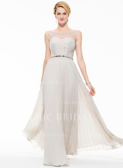 A-Line/Princess Chiffon Prom Dresses Beading Sequins Scoop Neck Sleeveless Floor-Length (018075895)
