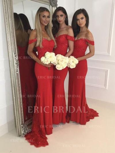 Trumpet/Mermaid Lace Jersey Bridesmaid Dresses Off-the-Shoulder Sleeveless Sweep Train (007145023)