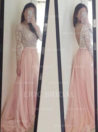 A-Line/Princess Scoop Neck Sweep Train Prom Dresses With Appliques Lace Sequins (018212222)