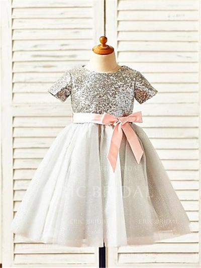 A-Line/Princess Scoop Neck Tea-length With Sash Tulle/Sequined Flower Girl Dresses (010211882)