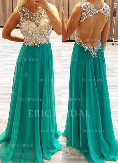 A-Line/Princess Scoop Neck Sweep Train Prom Dresses With Beading (018144670)